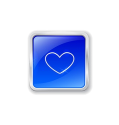 Heart icon on blue button vector image