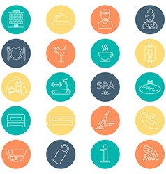 Hotel line icons set Hotel glyph Buttons with flat vector image