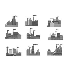 Industrial factory or industry plants icons vector