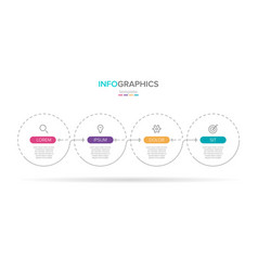 infographic label template with icons 4 vector image