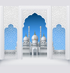 Islamic design white arch with pattern and mosque vector