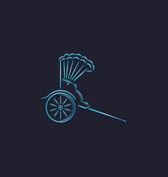 japanese rickshaw line art vector image