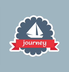 Journey card with red ribbon vector