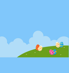 Landscape of easter theme flat vector