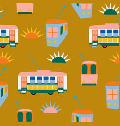 Lisabon buses and sun in a seamless pattern design vector