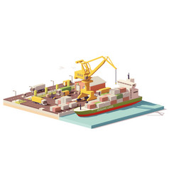 low poly port container terminal and ship vector image