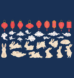 mid autumn rabbits chinese and vietnamese vector image