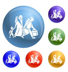 Migrant family leave home icons set vector