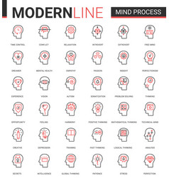Mind process flat line icon vector