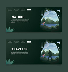 Nature and traveler landing page vector
