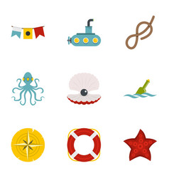Naval icons set flat style vector