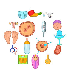 new born baby icons set vector image