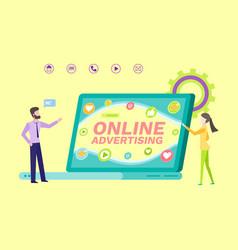 Online advertisement people with laptop scren vector