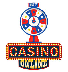 online casino logo lucky fortune wheel isolated vector image