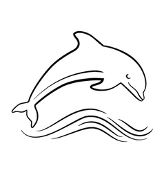 outline of jumping dolphin vector image