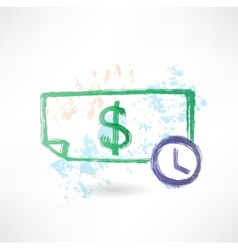 Paper dollar and time grunge icon vector image