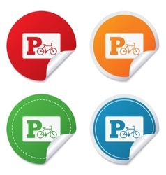 Parking sign icon Bicycle parking symbol vector