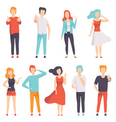people showing different gestures set faceless vector image