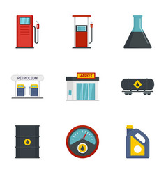 petrol fuel icon set flat style vector image