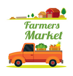 pick up truck with farm product vector image