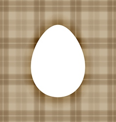 Plain white flat egg over warm brown checkered bac vector