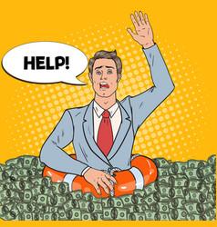 Pop art successful man sinking in money vector