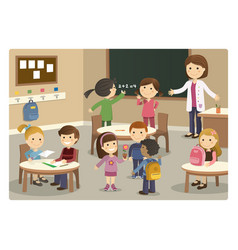 Pupils and teacher starting class at school vector
