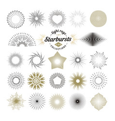 Rays and starburst design elements vector