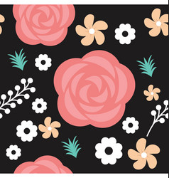 Red roses and floral seamless texture vector