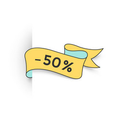 ribbon banner with text 50 percent for discount vector image