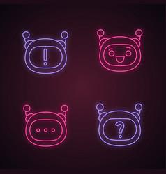 Robot emojis neon light icons set vector