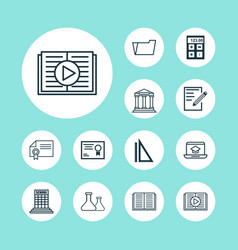 school icons set with diploma academy building vector image