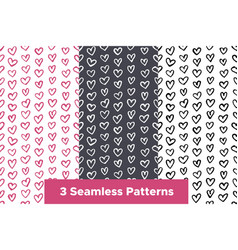 seamless patterns set with hand drawn color hearts vector image
