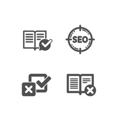 Seo checkbox and approved documentation icons vector