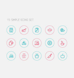 set of 15 editable cook outline icons includes vector image