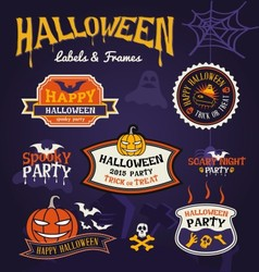 Set of Halloween party labels and frames design vector