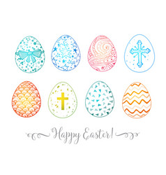 set of hand-drawn colored ornated easter eggs on vector image