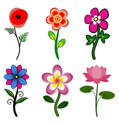 set stylized flowers vector image