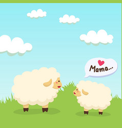 Sheep and lamb gather together on field vector