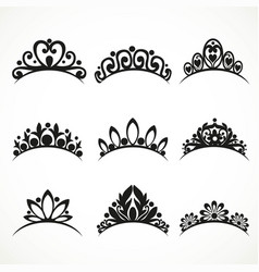 Silhouettes tiaras various shapes vector