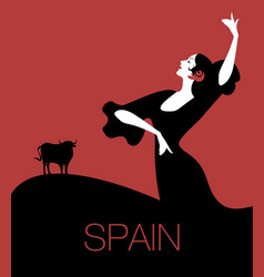 spanish flamenco dancer and bull in the background vector image