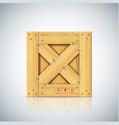 Stapled square wooden crate with timber vector