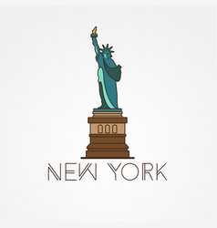 statue liberty - symbol us new york vector image