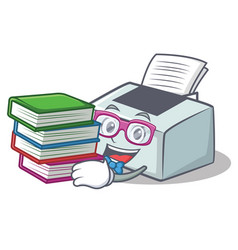 Student with book printer mascot cartoon style vector