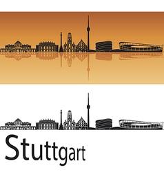 Stuttgart skyline in orange background vector image