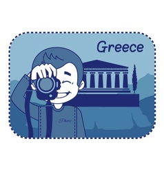 Teaser with photographer travels through Greece vector