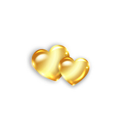Two gold amber hearts happy valentines day vector