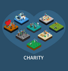 Volunteer and charity isometric set vector