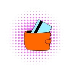 Wallet with credit card icon comics style vector image