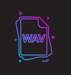 Wav file type icon design vector